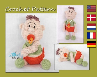 Amigurumi Pattern, Doll Crochet Pattern, Baby Doll with Pacifier, CP-128