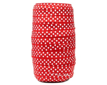 "Red FOE, 5/8"" Fold Over Elastic, White Polka Dot Elastic, DIY Headbands - 5 yards, Elastic Trim, Headband Supplies"