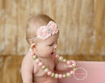 Pink baby headband, baby headband, pink flower headband, pink headband, baby girl headband, adult headband, infant headband, child headband
