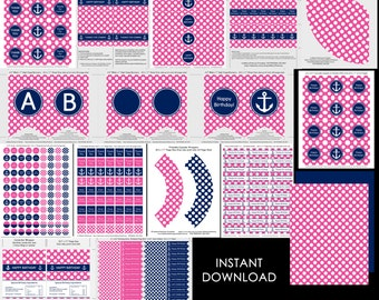 Nautical party printables, bunting, cupcake topper, candy wrapper, girl, birthday, baby shower, navy, pink dots, instant download, editable
