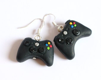Gamer earrings, Xbox controller geek earrings made of polymer clay, gamers jewelry