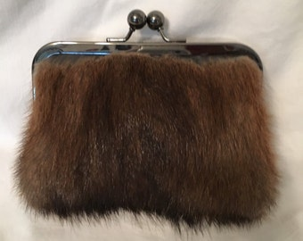 Genuine Muskrat Fur Clutch Purse