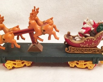 Christmas - Toy State train flat car with Santa and Reindeer