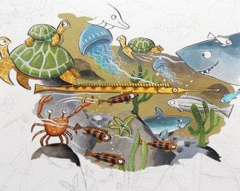 Undersea original illustration