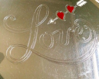 """Valentine's Day """"Love"""" with Cupid's Arrow Through Two Hearts Enameled Silver Plate Tray"""