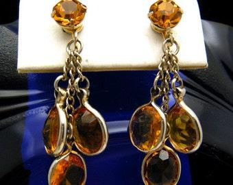 Gorgeous Drippy Topaz Rhinestone Bezel Set Glass Dangle Earrings Signed Coro