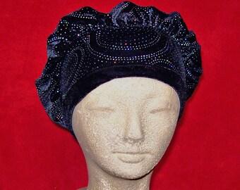Beret Black Velvet with Opalescent Glitter Head Cap  - Stretch Velvet Slip On Cap Hat Turban