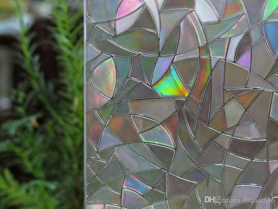 Window film 3d view frosted stained sticker glass static cling for Make your own stained glass window film