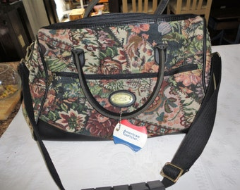 American Tourister Tote Bag Floral Tapestry Carry On Travel Luggage Vintage Overnight Case