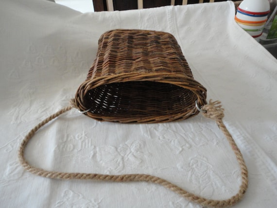 How To Weave A Basket Out Of Twigs : Woven twig basket hanging storage vintage by