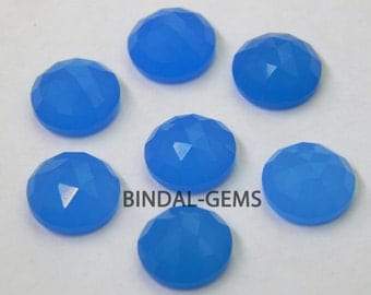25 Pieces Lot Blue Chalcedony Round Shape Rose Cut Loose Gemstone