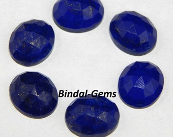 25 Pieces Wholesale Lot rarest Quality Lapis Lazuli Oval Rose Cut Gemstone For Jewelry
