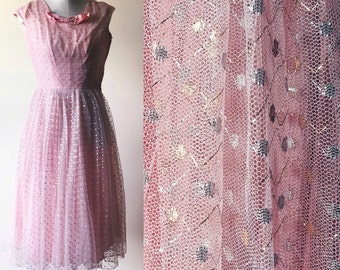 vintage prom dress // vintage pink gown //  metallic party dress // pink glitter dress