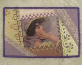 Crazy quilted fabric postcard, handembroidered in soft colors, great present for a quiltfriend