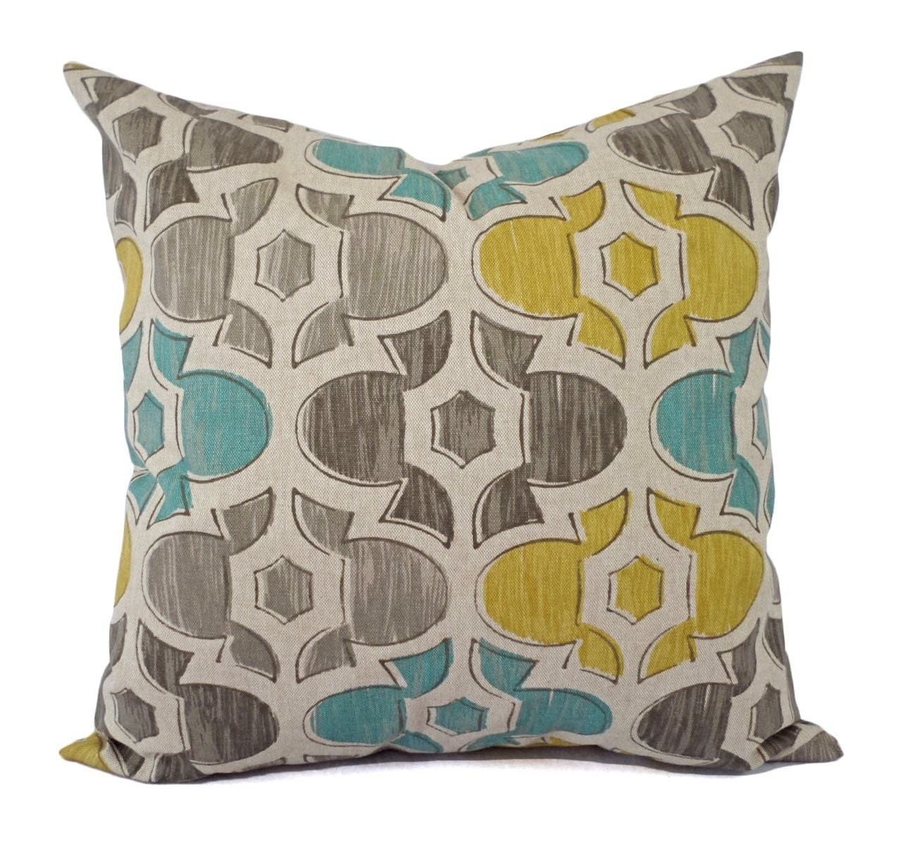 Brown Yellow and Blue Decorative Pillow Covers Two Geometric