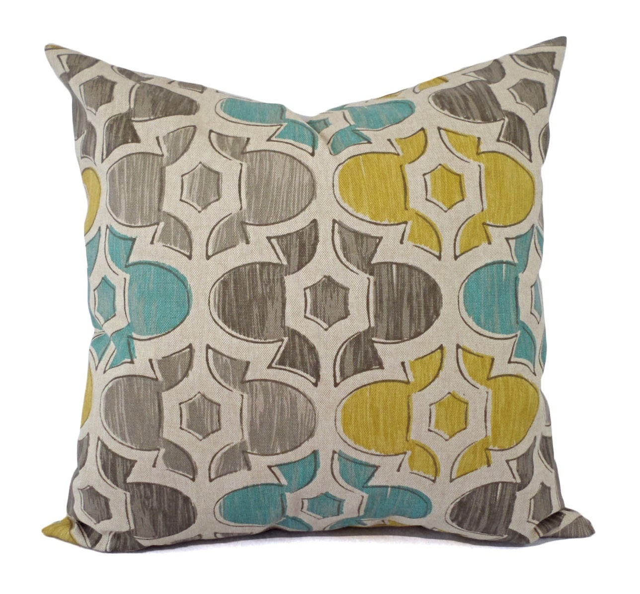 Yellow Blue And Brown Throw Pillows : Brown Yellow and Blue Decorative Pillow Covers Two Geometric