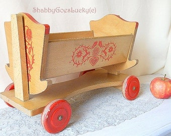 Large doll crib on wagon both marked HABA, old doll cradle, 1960s German vintage wooden stencil decorated doll bed, old doll furniture