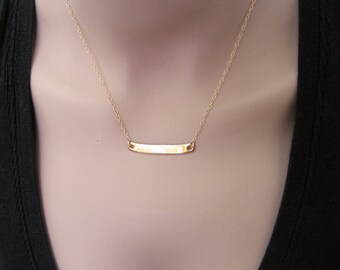 Gold plate necklace. Plain minimalist plate necklace. Gold bar necklace. Gift for her. Bar necklace. Gold bar necklace. Dainty bar necklace.