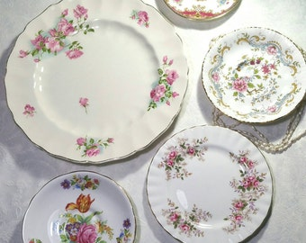Vintage decorative wall plates, Instant pink wall art display. Shelley Sheraton, Royal Albert lavender rose, old Chelsea plates.