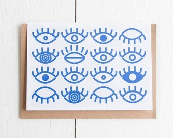 Postcard type greetings card screen printed / blue / kraft envelope / Eyes