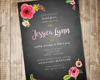Chalkboard Watercolor Floral Bridal Shower Invitation -Printed - Bright Flowers