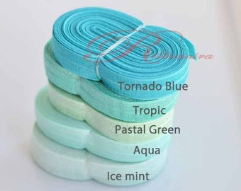 "Tropic, aqua , pastel green   5/8"" Foe Mix and Match Solid,  Fold-Over Elastic, Headband, mint Headbands, Elastic by the Yard,Satin Elastic,"