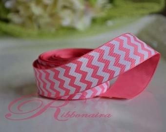 "pink /White chevron 7/8""  grosgrain  Ribbon  hair bow"