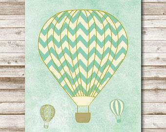 Hot Air Balloon Printable Nursery Hot Air Balloon Decor Balloon Decor Hot Air Balloon Print 8x10 Mint Decor Photography Prop