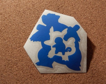 Blastoise, Wartortle, Squirtle Evolution Pokemon Adhesive Vinyl Decal