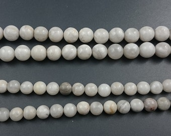 natural white crazy agate beads round loose gemstone beads wholesale 8mm 10mm strand