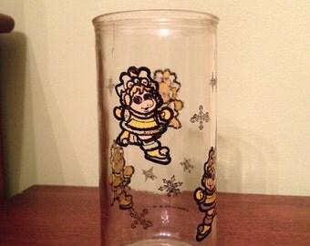 Vintage Miss Piggy Baby Piggy Glass Tumbler 1989 Muppet Babies Henson Associates, Inc.