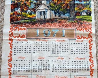 Vintage 1971 Cloth Calendar