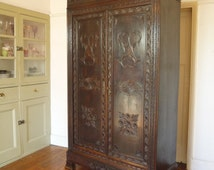 Antique Highly Carved Louis Philippe Style French Armoire Wardrobe