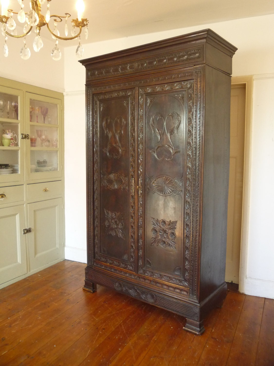 antique highly carved louis philippe style french armoire. Black Bedroom Furniture Sets. Home Design Ideas