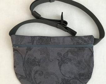 Charcoal Floral Flat, Zipper Fanny Pack, Waist Bag, Festival Bag, Bum Bag, hip Pouch