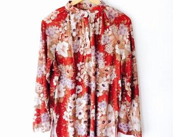 Vintage 70s boho floral poet blouse