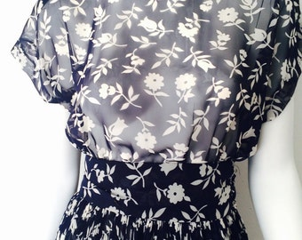 Vintage 80s Sheer Peplum Floral Dress