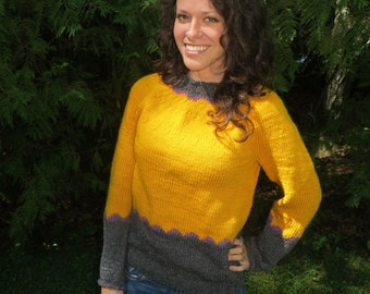 Woman's small gold and grey wool sweater