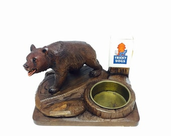 Black Forest Carved Bear Ashtray, Wood Bear