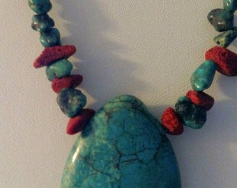 Turquoise and Coral Nugget Necklace with Tear Drop Pendant