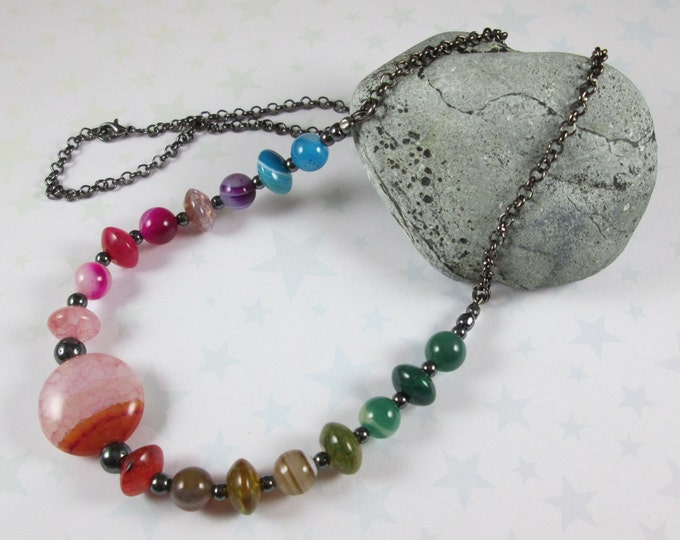 Agate Gradient Necklace - Rainbow - Pink & Red Focal
