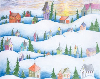 Snow Village Greeting Cards 4-Pack