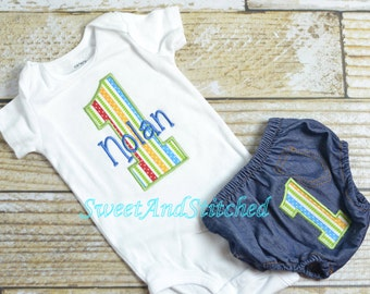 Baby Boy First (1st) Birthday Cake Smash Outfit, Personalized *Name included! - Baby Boy First, 1st Birthday Outfit Boy, 1st Birthday Shirt