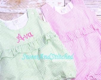Monogrammed baby girl romper, Seersucker girls romper monogrammed, seersucker summer outfit, girls seersucker Beach Outfit