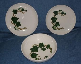 "Metlox California Ivy Lot - 9"" Salad Bowl, Luncheon Plate & Dinner Plate"
