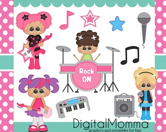 Rock Star Girls Clipart Set, Personal & Commercial use, Instant Download!