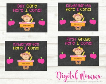 Personalized Back To School Chalkboard Printable, School Announcement, 5x7, Print At Home or Photo Lab
