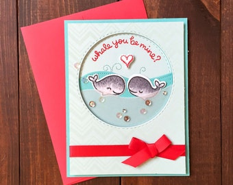 Handmade Valentines Day Card, Valentines Day Card, Happy Valentines Day, Whale you Be Mine, Engagement Card, Proposal Card, Love Card