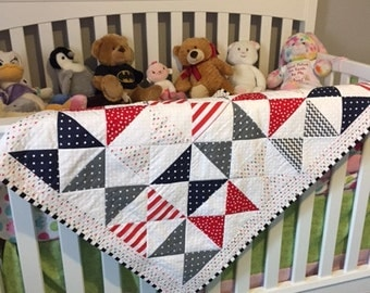 Baby/Toddler Boy Crib Quilt in red, white, blue and gray