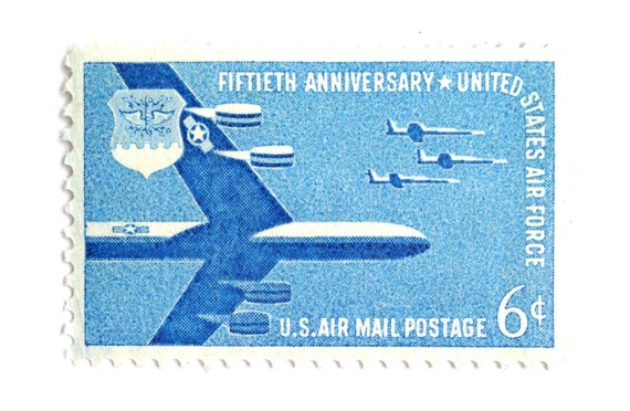 10 Unused Air Force Postage Stamps Vintage Blue Air Mail Stamps Usaf Stamps For Mailing